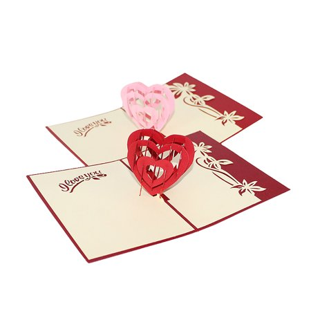 Pink Heart Pop Up Card For Valentines Day 3D Lover Romance Cute Couple Wedding Birthday To Write Your