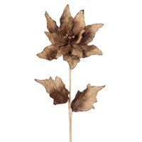 """Pack of 6 Rustic Style Glitter Tipped Burlap Poinsettia Stems 26"""", Floral metallic country-rustic By Melrose Ship from US"""