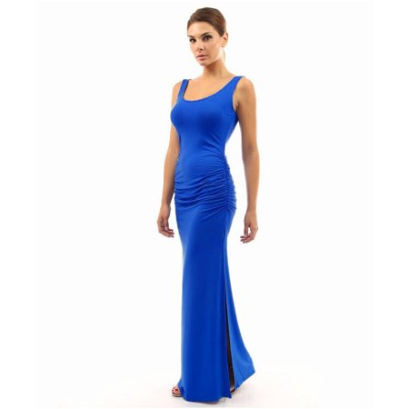 Sleeveless Women Solid Color Skinny Long Silk Dress ()