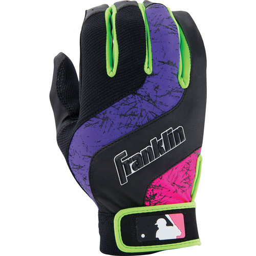 Franklin Sports MLB Youth Shok-Wave Batting Gloves White Black Small by Franklin Sports