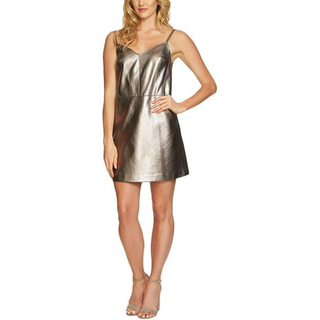 Silver Foil Dress (1.State Womens Faux Leather Sleeveless Party)