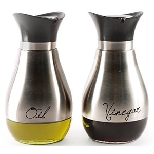 Palais Glassware Loire Collection, Elegant Designed Oil and Vinegar Dispenser - Set of 2, Stainless Steel and Glass)