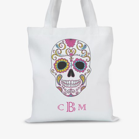 Skull Personalized Large Halloween Trick or Treat Tote Bag (Halloween Trick Or Treat Bags Personalized)