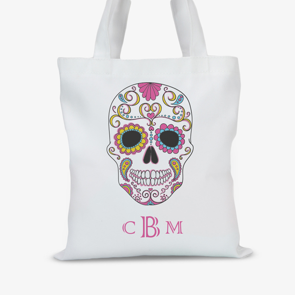 Skull Personalized Large Halloween Trick or Treat Tote Bag