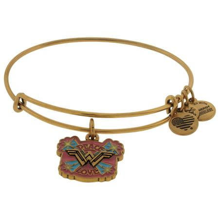 Wonder Woman PEACE LOVE Bangle Bracelet Rafaelian Gold NWTBC