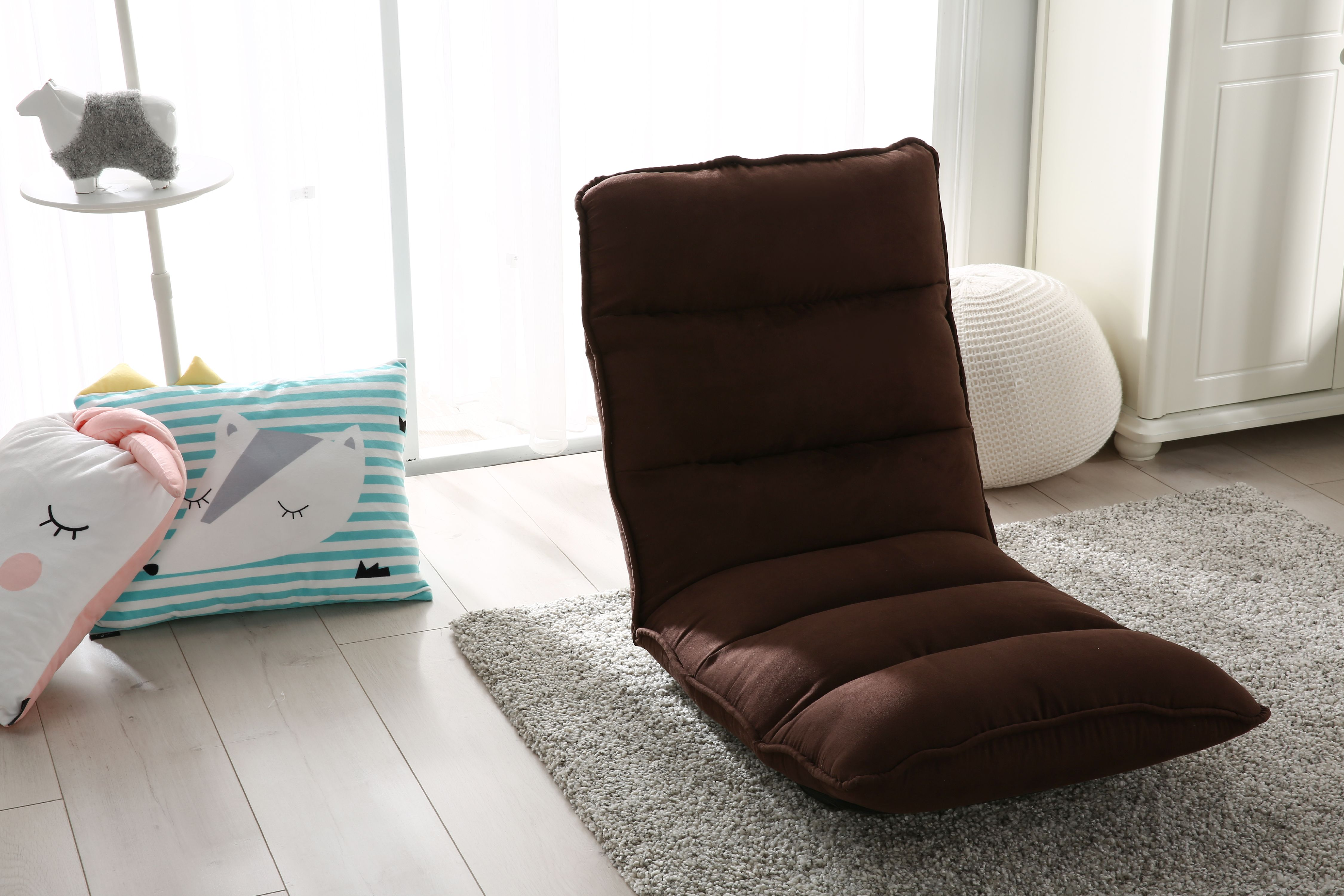 - Tyson Modern Adjustable Brown Fabric Gaming Chaise Lounge Chair