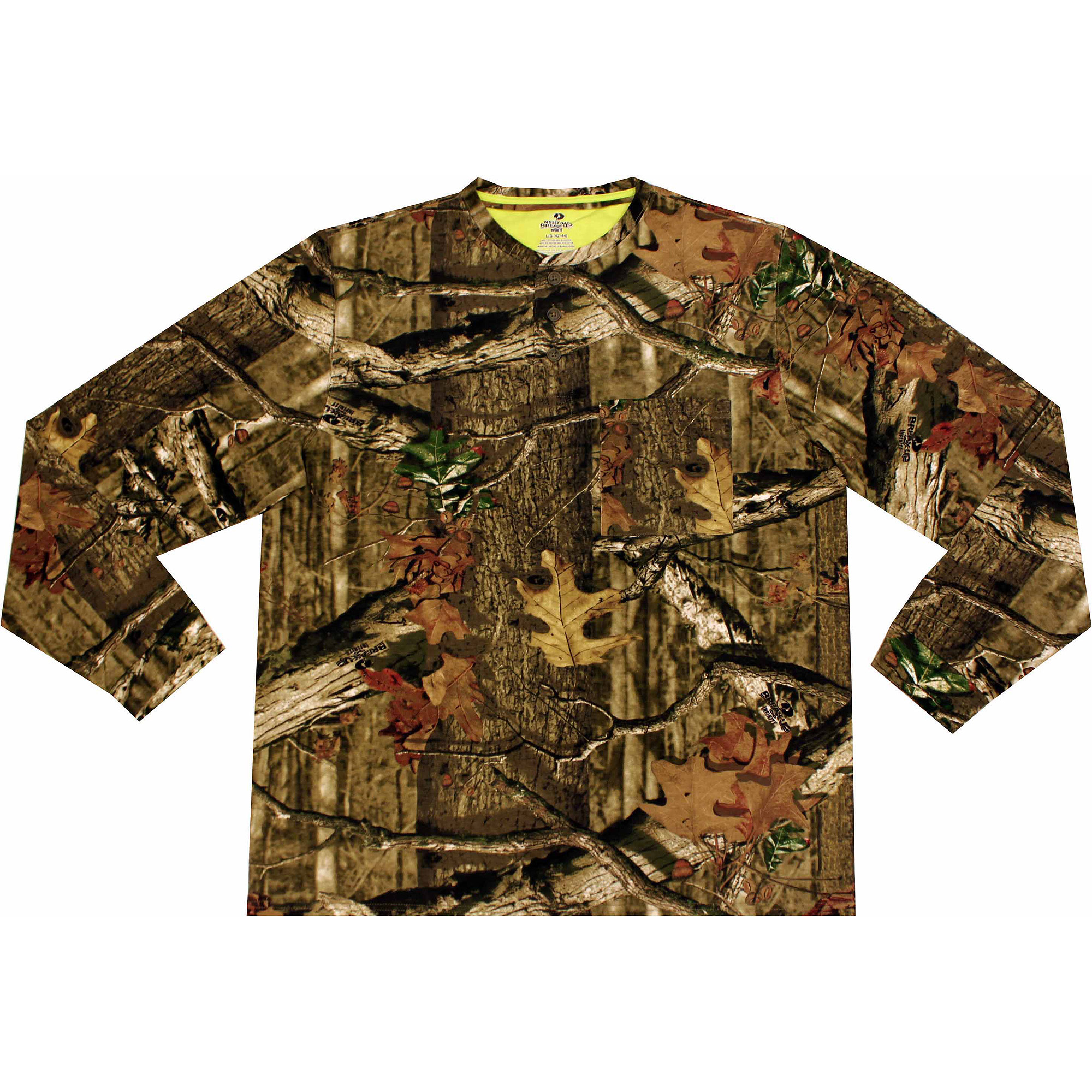 Mossy Oak Breakup Men's Olive Long Sleeve Henley Tee