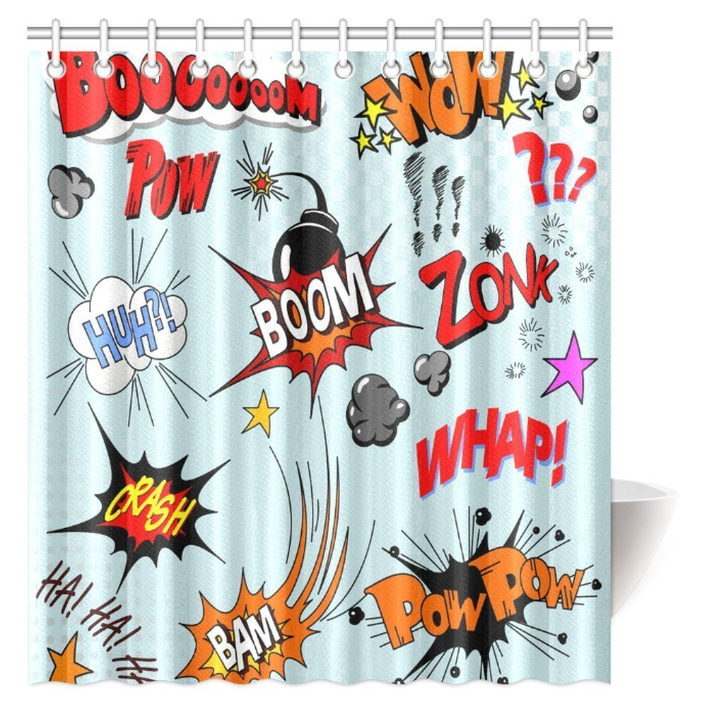 GCKG Retro Shower Curtain Comic Book Explosion Expression