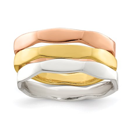 925 Sterling Silver 14k Gold Rose Vermeil 3 Piece Band Ring Set Stackable Smooth Gifts For Women For (14k Vermeil Ring)