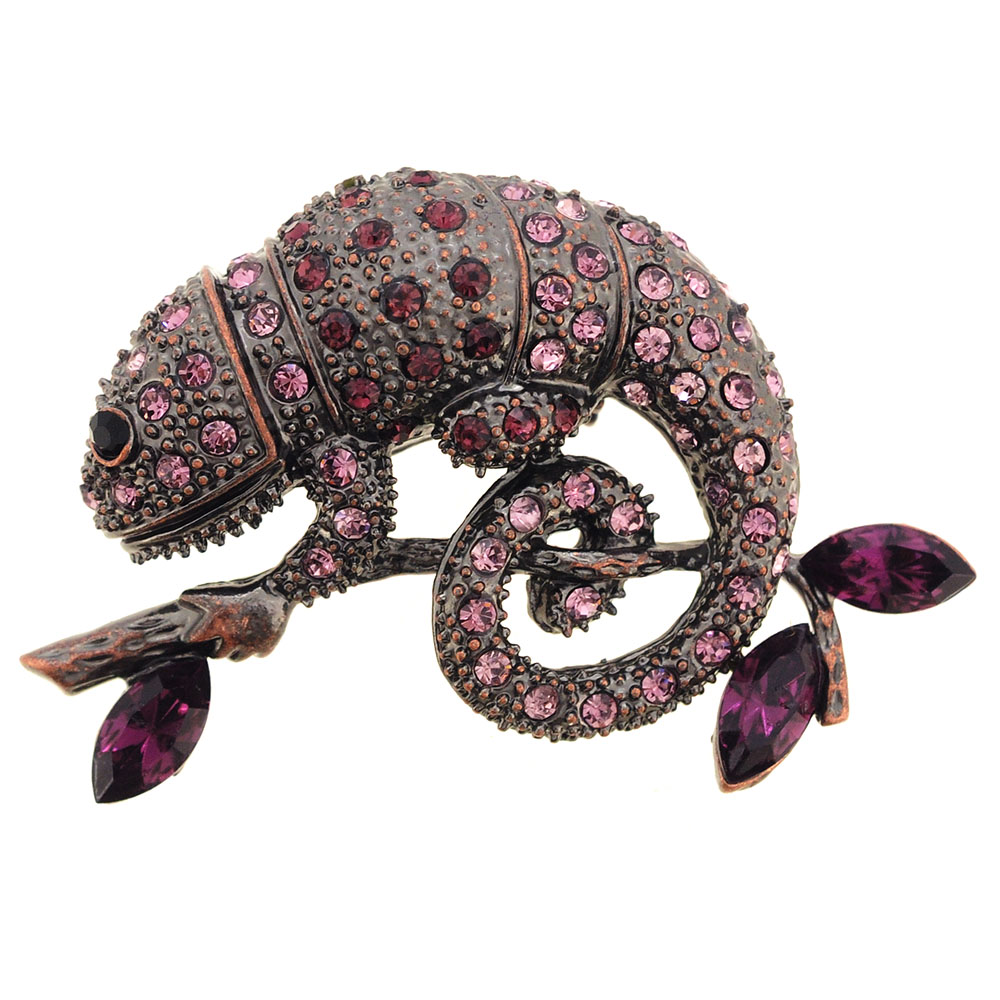 Amethyst Purple Chameleon Reptile Crystal Pin Brooch by