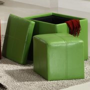 Tribecca Home Swayne Green Storage Ottoman with Mini Foot Stool by