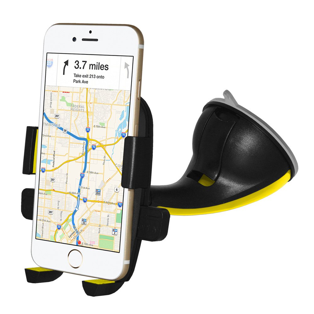 Car Mount, Flexible Arm Universal Windshield Cell Phone Holder with Strong Suction Cup for iPhone SE 7 Plus 6s 6 Plus 6 5s 5 4s 4 Samsung Galaxy S6 S5 S4 LG Nexus Sony Nokia and More-Yellow