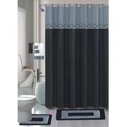 BLACK KADIR 15-piece Hotel Bathroom Sets - 2 Non-Slip Bath Mats Rugs Fabric Shower Curtain 12-Hooks