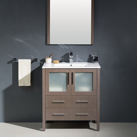 Fresca Torino 30'' Single Modern Bathroom Vanity Set with Mirror - Modern Single Bathroom Vanity