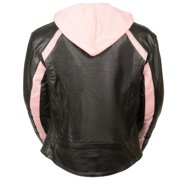 Milwaukee Leather Womens Striped Black/Pink Leather Jacket with Zip-Out Hoodie