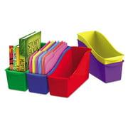 Storex Interlocking Book Bins, 12.6 x 5.3 x 14.3, 5 Color Set, Plastic