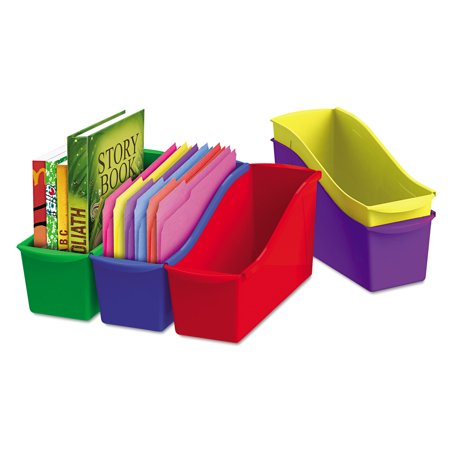 Storex Interlocking Book Bins, 12.6 x 5.3 x 14.3, 5 Color Set, Plastic