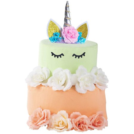 Unicorn Cake Topper Set - Silver Horn Unicorn Cake Topper Kit, Including  Silver Horn with Ears and Flowers, Eyelashes, Paper Straw, Cake Decoration