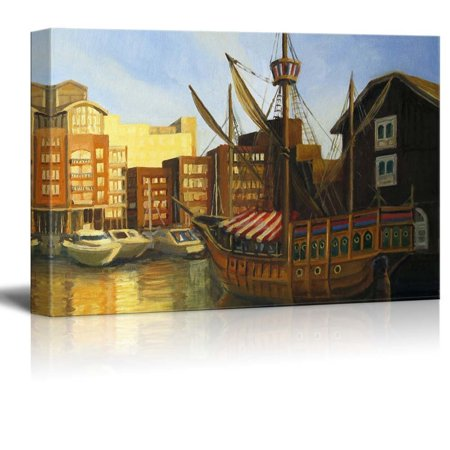 Sunset Dock - Canvas Prints Wall Art - A Late Afternoon Sunset View at the Famous St Katharine Docks in London near Thames River in Oil Painting Style | Modern Wall Decor/Home Decor - 16