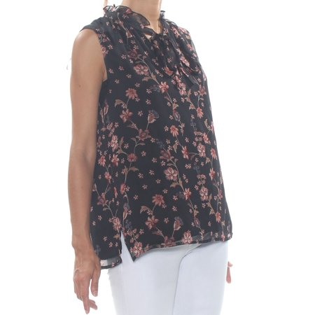 Garden Sleeveless - CECE Womens Black Ruffled Bohemiam Garden Printed Sleeveless Top  Size: S
