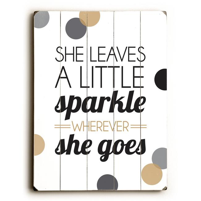 One Bella Casa 0004-2416-25 9 x 12 in. She Leaves a Little Sparkle Solid Wood Wall Decor by Amanda Catherine - image 1 of 1