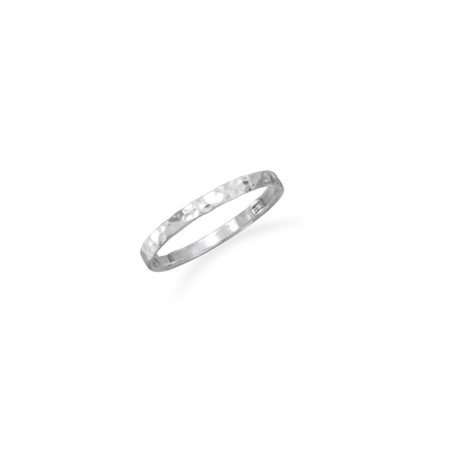 Small Band Ring Hammered Sterling Silver, Sizes 2 to 4 (Sterling Silver Small Flat Back)