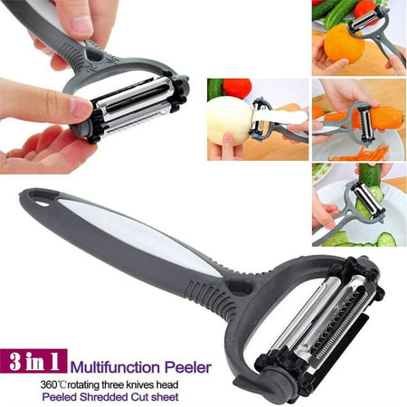 Hot 3 in 1 Rotary Fruit Vegetable Carrot Potato Peeler Slicer (Best Vegetable Peelers)