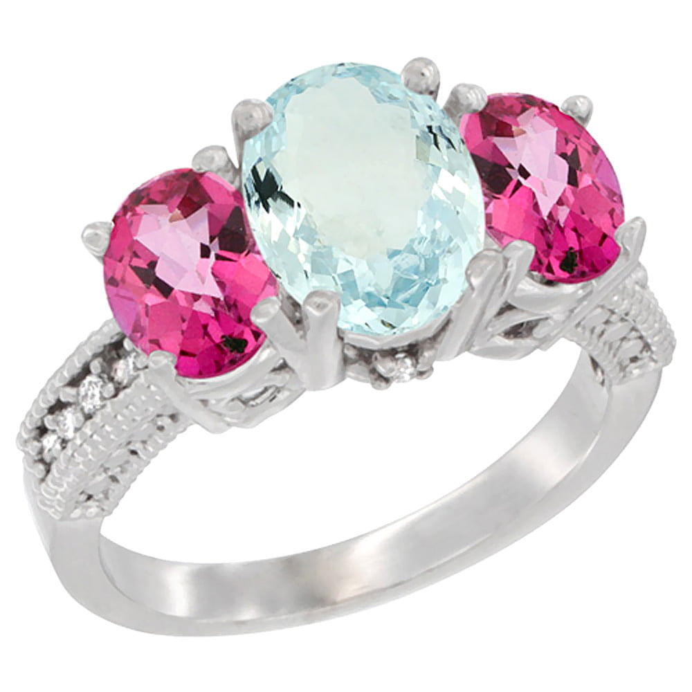 14K White Gold Diamond Natural Aquamarine Ring 3-Stone Oval 8x6mm with Pink Topaz, sizes5-10 by WorldJewels