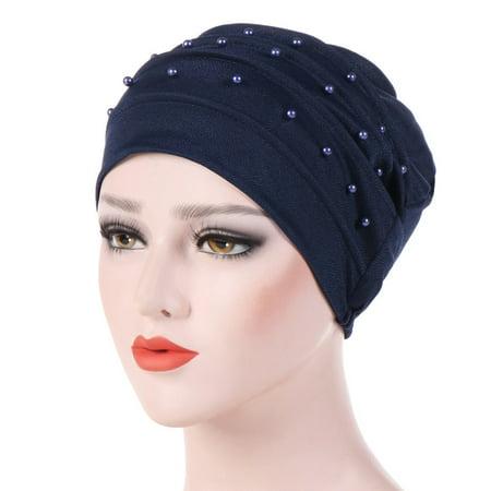 KABOER 1 Pcs Cotton Muslim Hijab Solid Color Head Scarfs Fake Pearl Hijab Fashion Hair Scarf for Women](Fake Chest Hair)