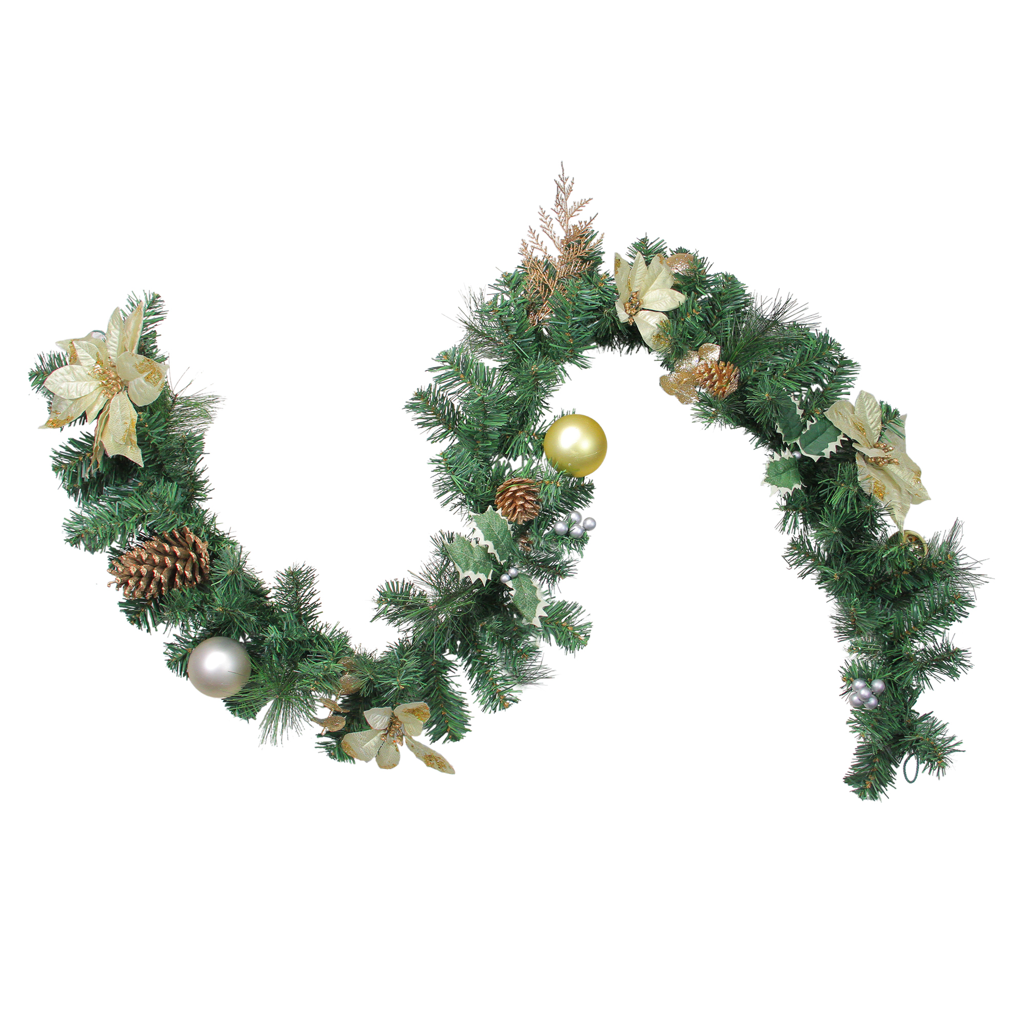 Northlight 6 X 9 Unlit Gold Poinsettia And Pinecone Artificial Christmas Garland