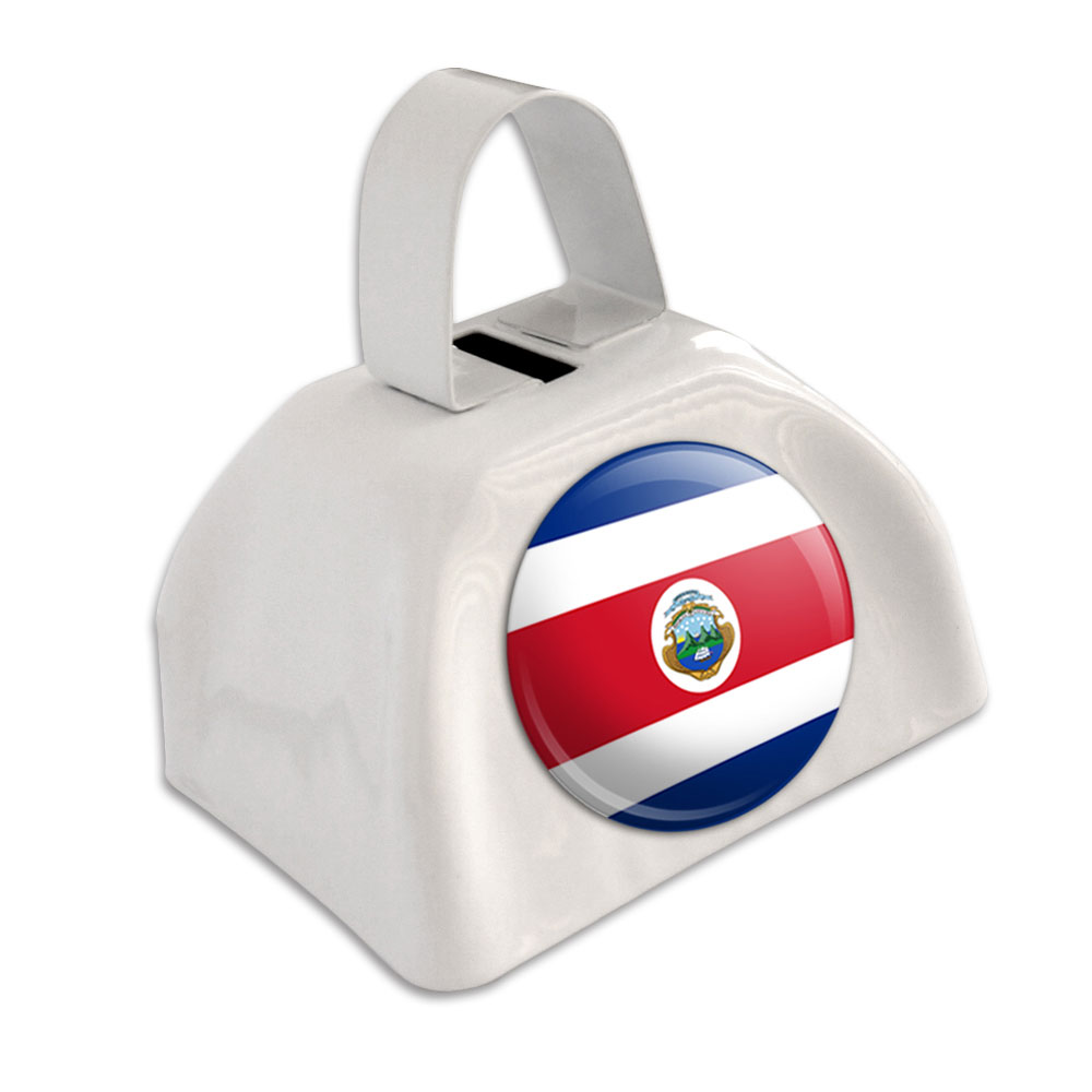 Costa Rica National Country Flag White Cowbell Cow Bell by Graphics and More