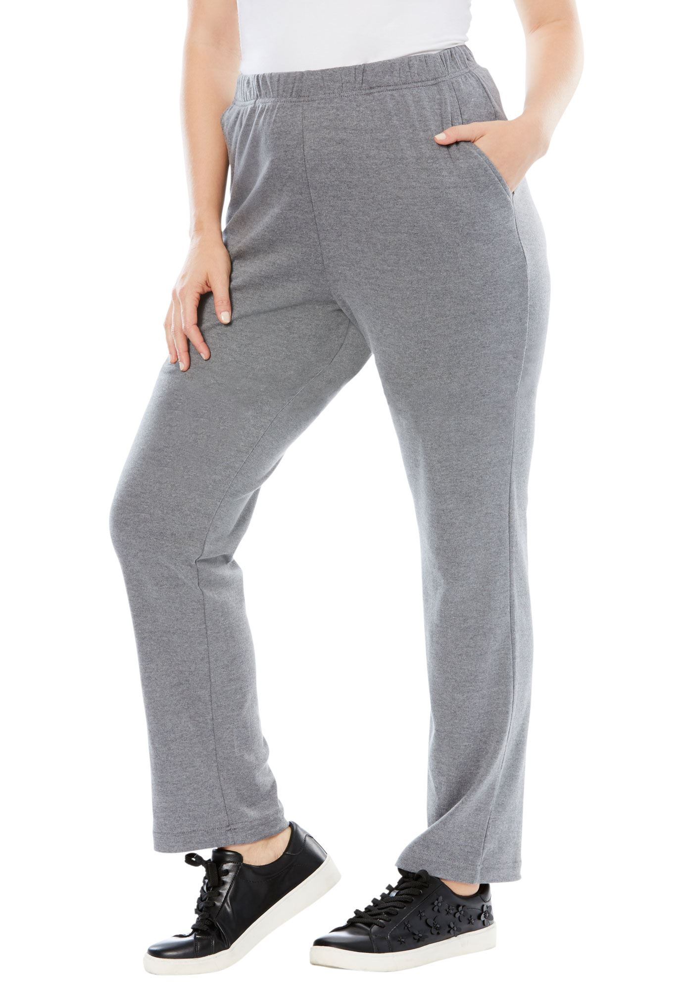 Roaman's Plus Size Soft Knit Straight-leg Pants