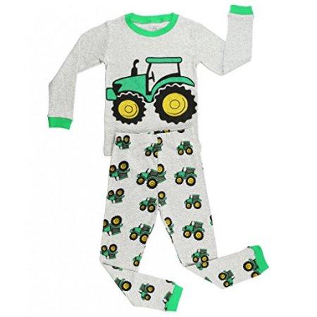 Elowel Boys Tractor 2 pc pajamas Set Size 7,Gray