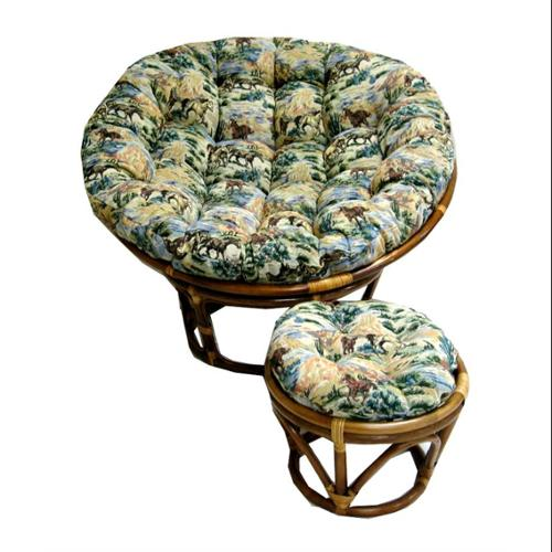 Button Tufted Single Papasan Cushion (Tapestry Fabric Checkered Scroll, 52 in.)