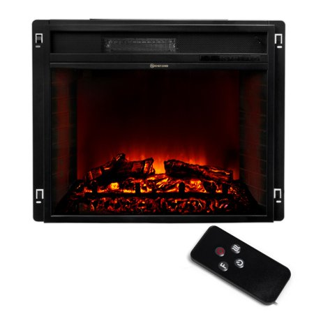 23 Electric Fireplace Heater Insert Flat Glass Panel With Remote Black
