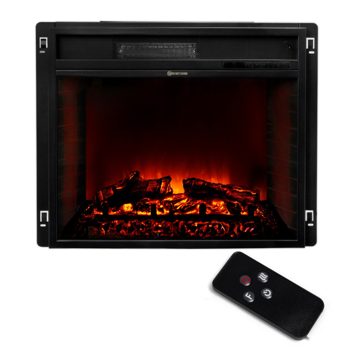 "23"" Electric Fireplace Heater Insert flat Glass Panel with Remote, Black"