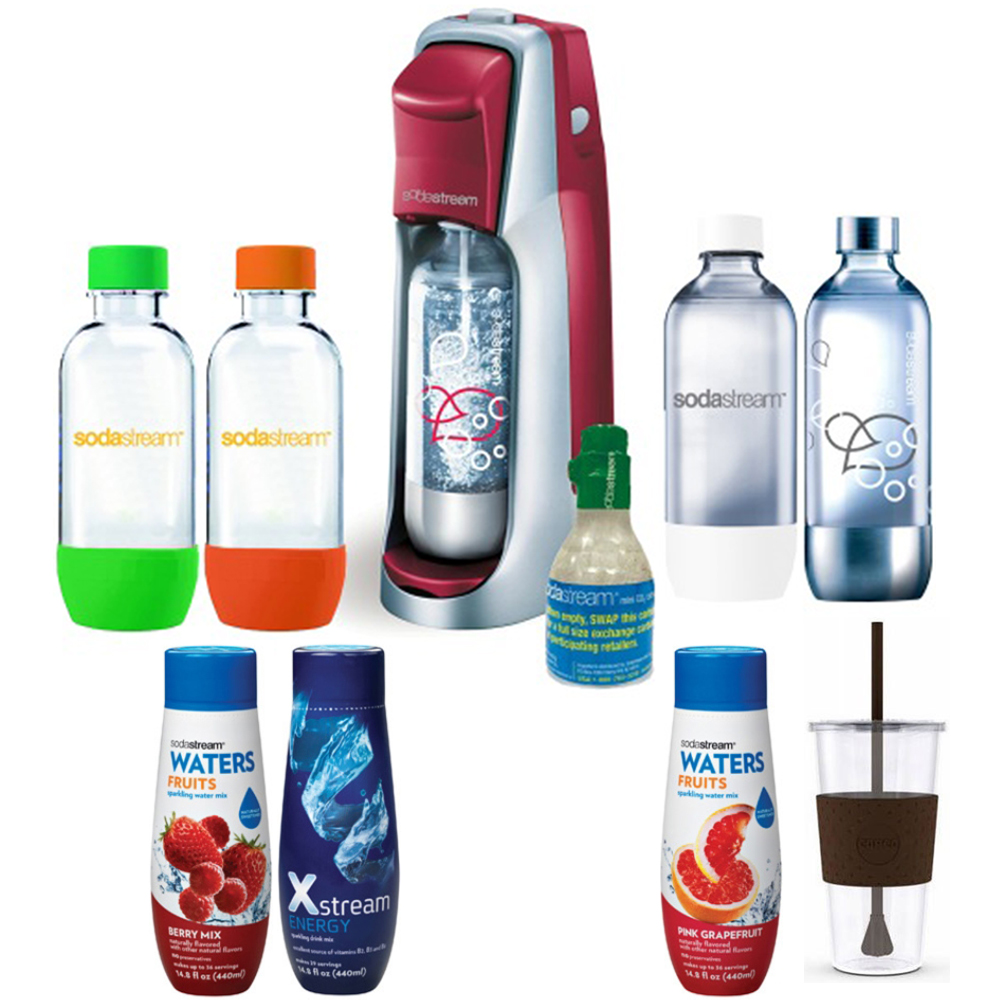 SodaStream Fountain Jet Soda Maker (Red) Exclusive Kit - Includes 4 Bottles & Mini CO2, Eco First 24 Oz To-Go Cup, Pink Grapefruit and Berry Waters Zeros and Xstream Energy Drink Mixes