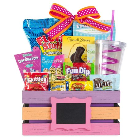 Easter Basket For Kids  Chocolate And Candy Favorites  Purple   Orange   Pink