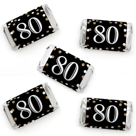 Adult 80th Birthday - Gold - Mini Candy Bar Wrapper Stickers - Birthday Party Small Favors - 40 Count - 80th Birthday Party Favors