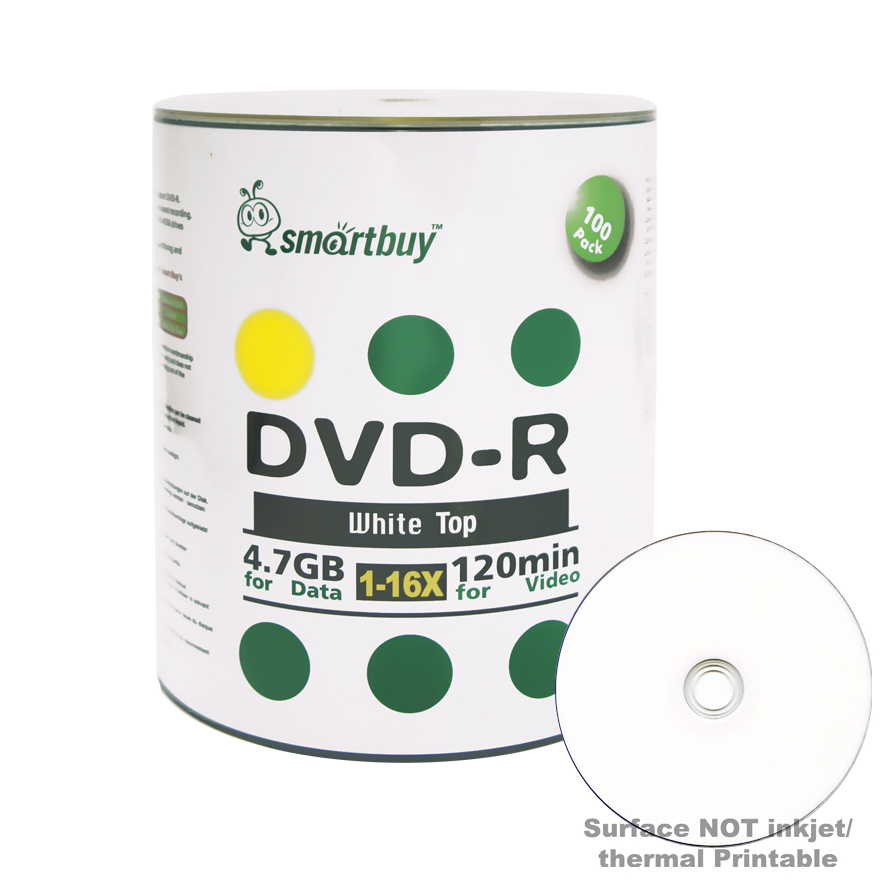 100 Pack Smartbuy 16X DVD-R 4.7GB 120Min White Top (Non-Printable) Data Blank Media Recordable Disc