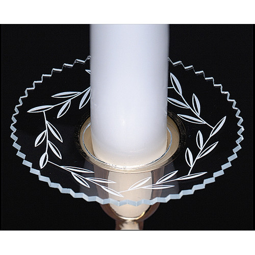 Biedermann and Sons Glass Bobeche Candle Holder with Etched Leaves (Set of 4)