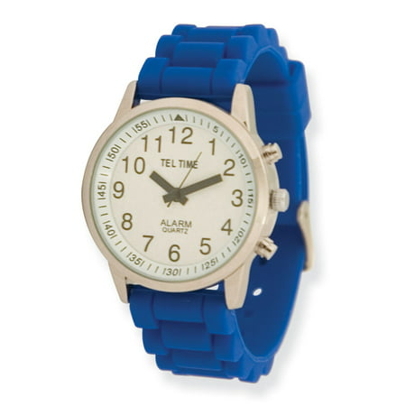 Face Rubber Band - Ladies Touch Talking Watch - Large Face - Blue Rubber Band