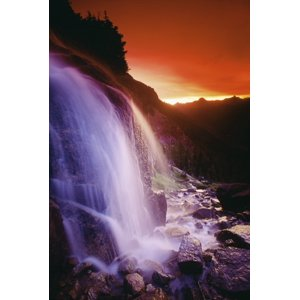 Bilderbuch | Design Pics Stretched Canvas Art - Waterfall At Sunset, Bugaboo Glacier Provincial Park, British Columbia, Canada - Large 24 x 36 inch Wall Art Decor Size.