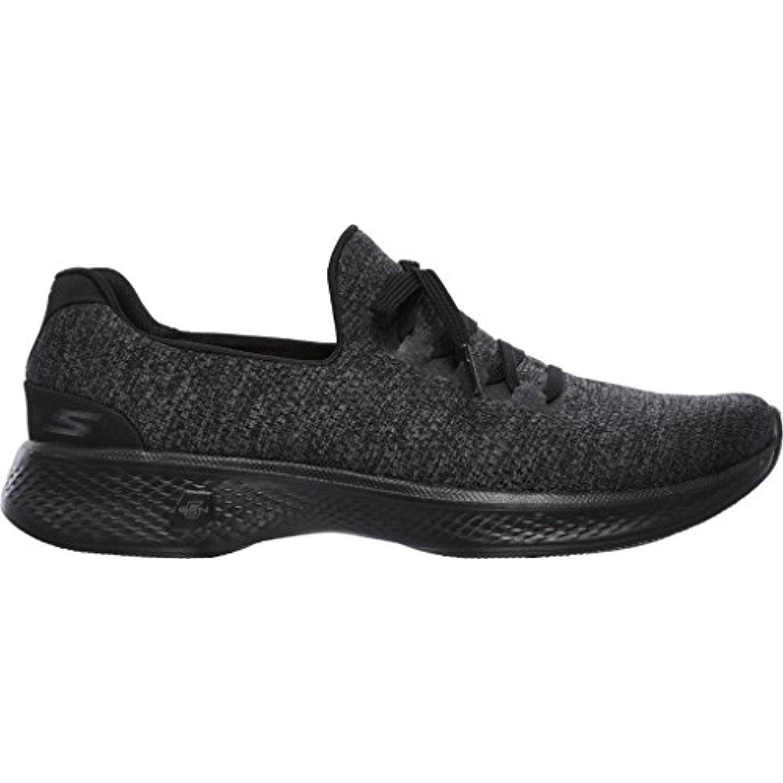 Skechers Women's GOwalk 4 All Day Comfort Walking Sneaker,Black/Gray Heather 6.5 C/D US