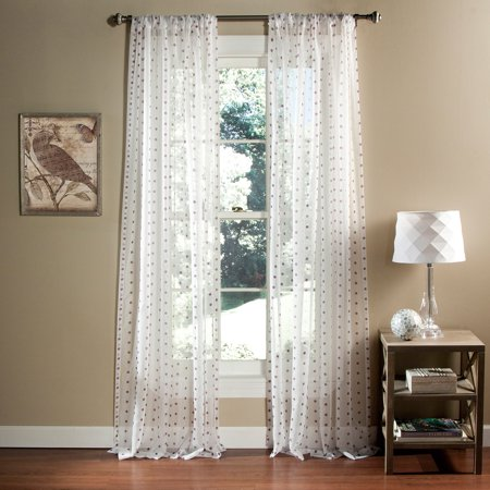 Polka Dot Sheer Window Curtain Set Of 2