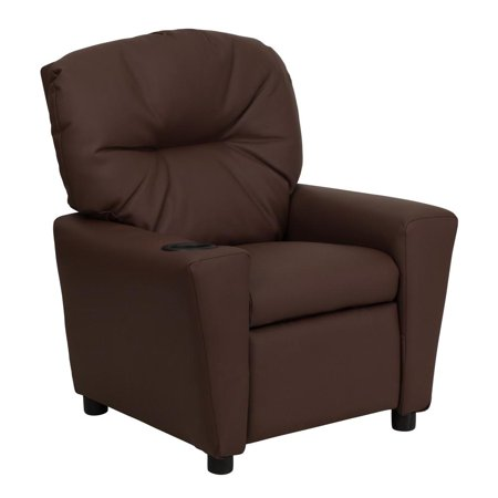 Contemporary Brown Leather Kids Recliner with Cup - Kids Leather Recliner