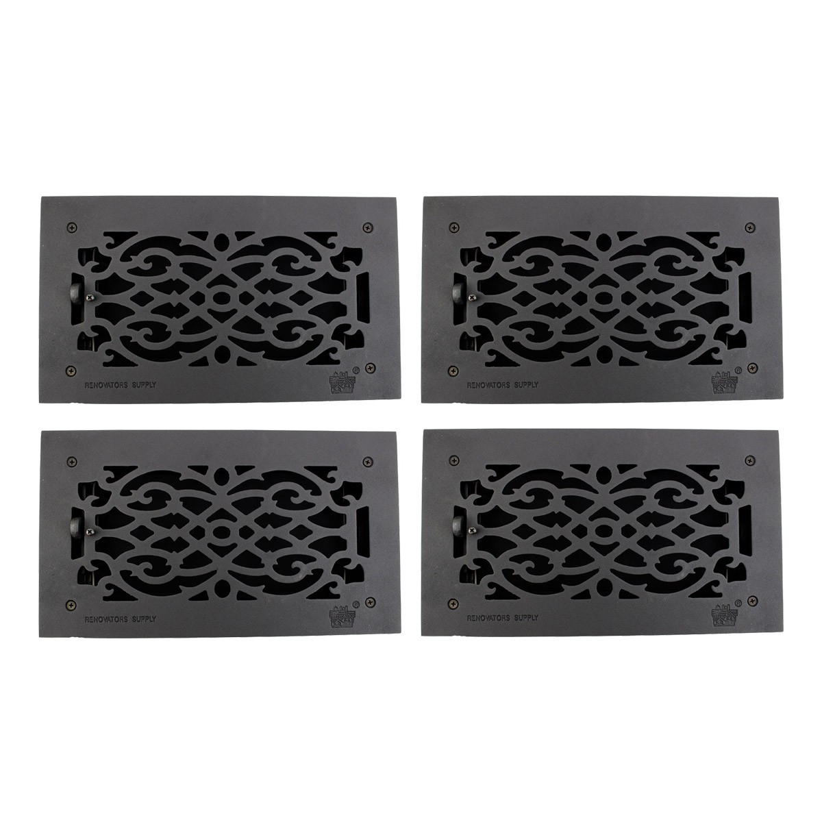 "4 Floor Heat Register Louver Vent Victorian Cast 6"" x 12"" Duct 