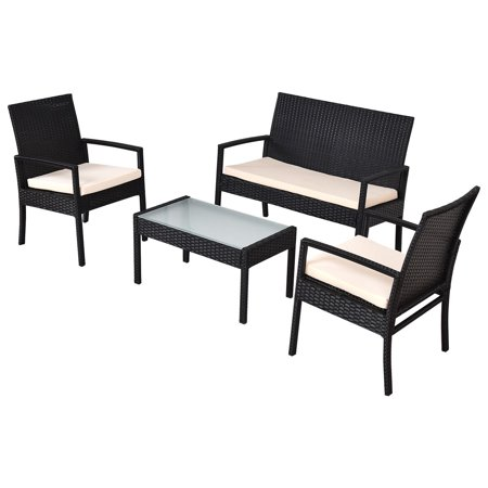 - GHP 4-Pcs Heavy Duty Rattan Wicker Patio Coffee Table and Chairs Set w Cushions