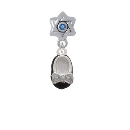 Enamel Baby Shoe Charm (Black Enamel Baby Shoe with Bow - Star of David with Blue Crystal Charm Bead )