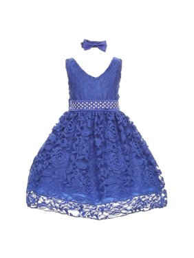 Little Girls Royal Blue Rose Lace Overlay Beaded Waist Occasion Dress 2-4T